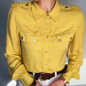 Tory Burch yellow button front silk blouse, size 8